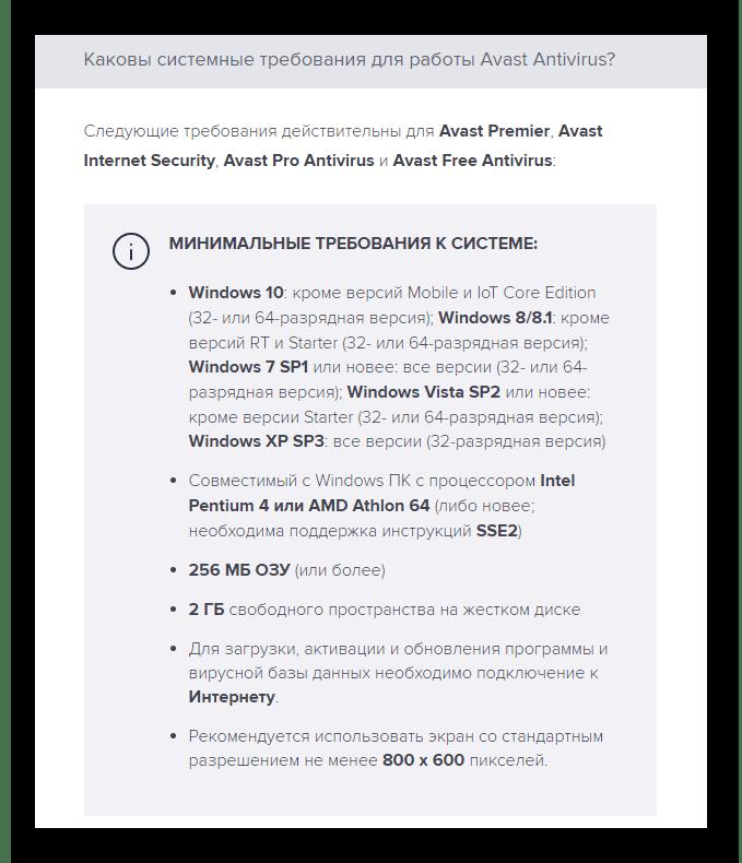 Системные требования для Avast Pro